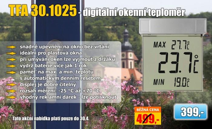 Venkovní digitální teploměr na okno TFA 30.1025 VISION