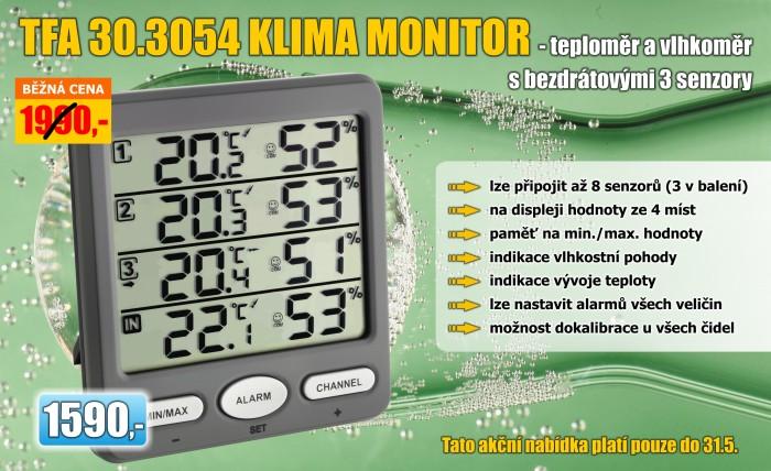 Teploměr a vlhkoměr s 3 bezdrátovými senzory TFA 30.3054.10 KLIMA-MONITOR