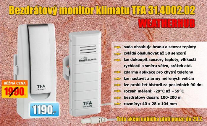 Bezdrátový monitor klimatu TFA 31.4002.02 WEATHERHUB - startovní balíček č. 2