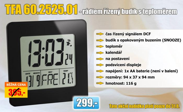 Rádiem řízený digitální budík s teploměrem TFA 60.2525.01