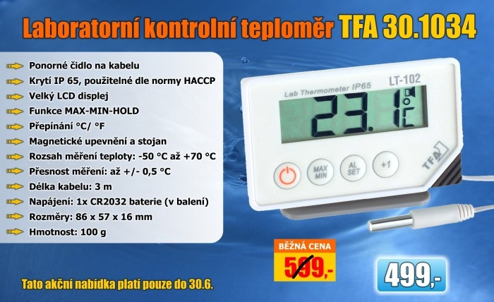 Laboratorní kontrolní teploměr TFA 30.1034