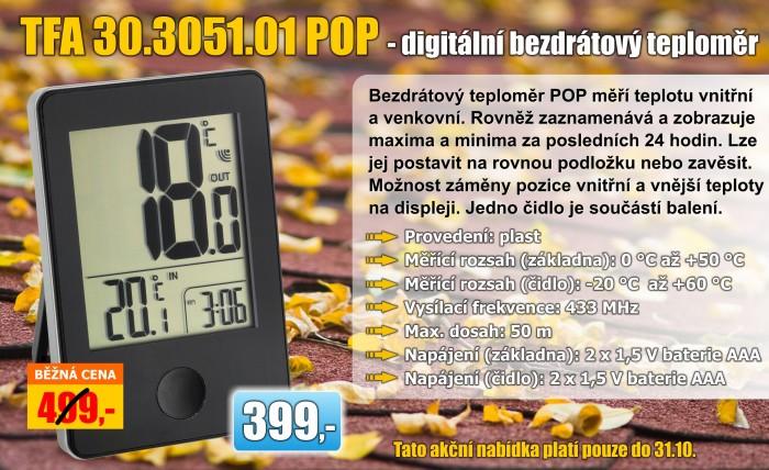 Bezdrátový teploměr TFA 30.3051.01 POP - černý