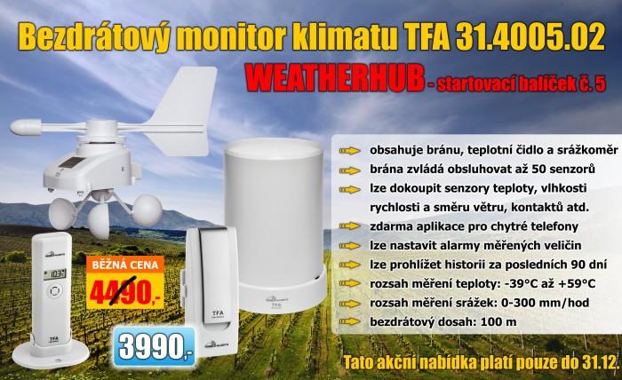 Bezdrátový monitor klimatu TFA 31.4005.02 WEATHERHUB - startovní balíček č. 5