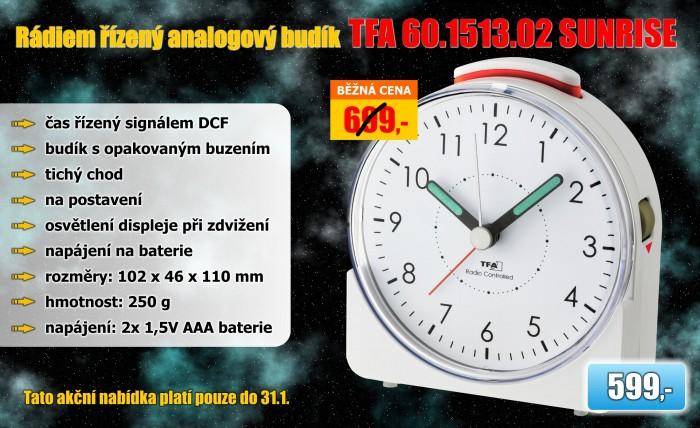Rádiem řízený analogový budík TFA 60.1513.02 SUNRISE