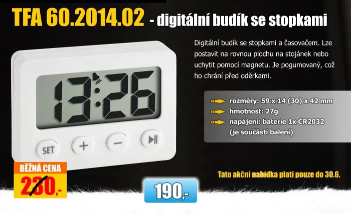 Digitální budík se stopkami TFA 60.2014.02