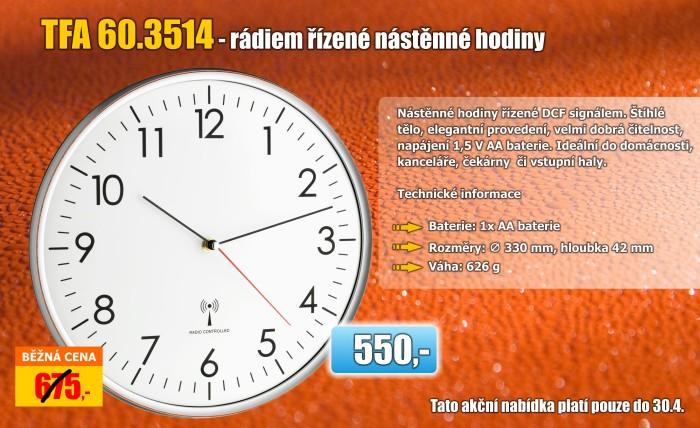 Nástěnné hodiny řízené DCF signálem TFA 60.3514