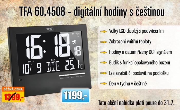 TFA 60.4508 - digitální hodiny s češtinou