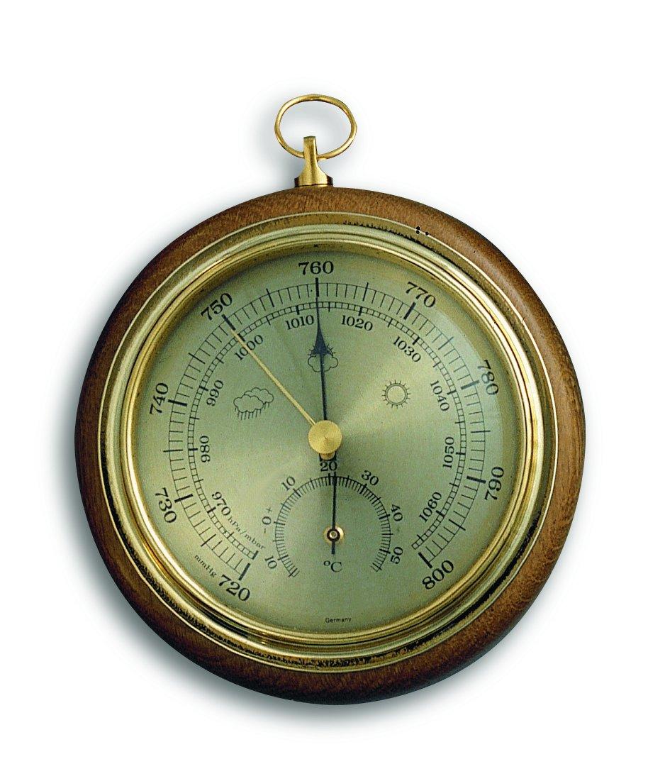 Barometr s teploměrem 108 mm na zavěšení - TFA 45.1000.01 - dub