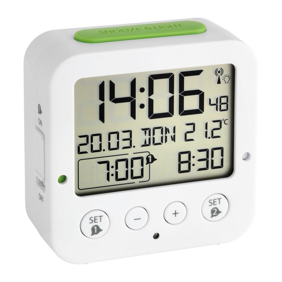 Digitální budík s hodinami řízenými DCF signálem TFA 60.2528.02 BINGO - bílý