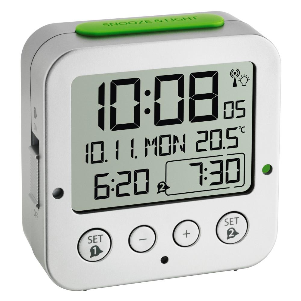 Digitální budík s hodinami řízenými DCF signálem TFA 60.2528.54 BINGO - stříbrný