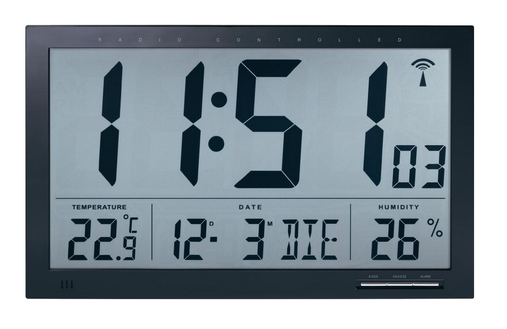 Nástěnné hodiny s teploměrem a vlhkoměrem JUMBO