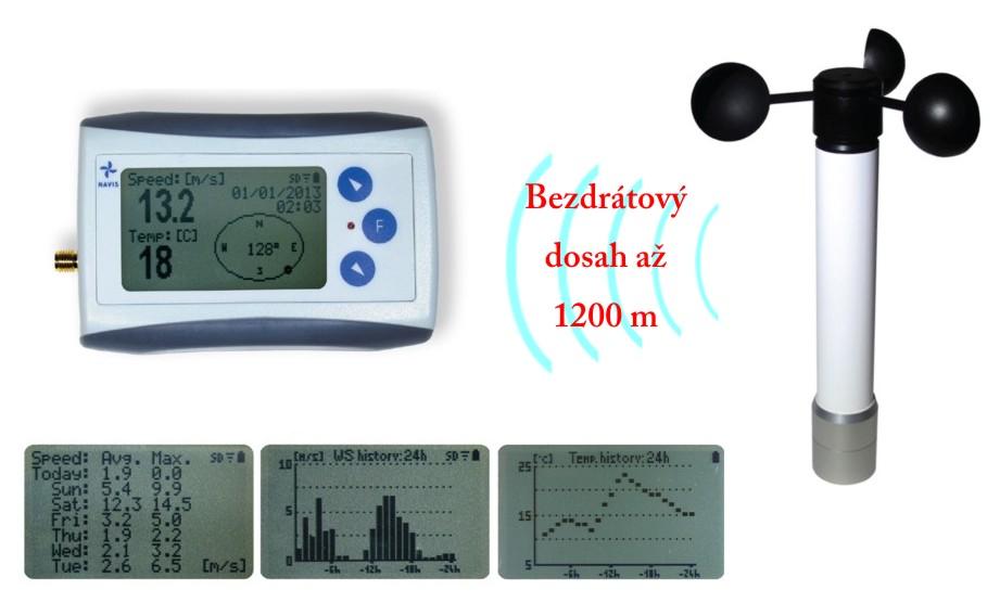Bezdrátový měřič rychlosti větru s dlouhým dosahem WL11X-WS