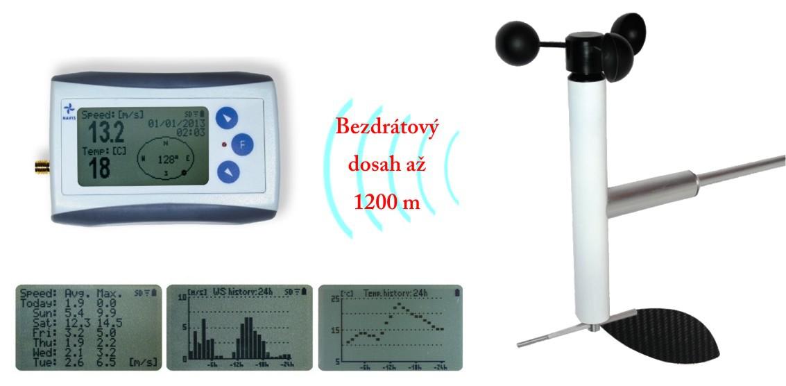 Bezdrátový měřič rychlosti a směru větru s dlouhým dosahem WL11X-WSD