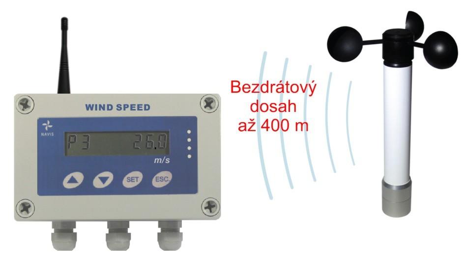 Bezdrátový měřič rychlosti větru s dlouhým dosahem a 3 výstupy WSM W300