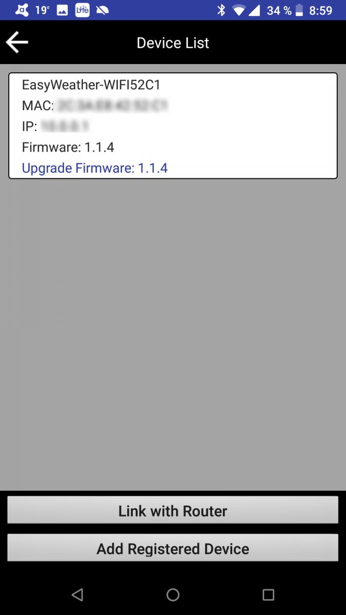 Ventus 830 - seznam zařízení v aplikaci WS TOOL