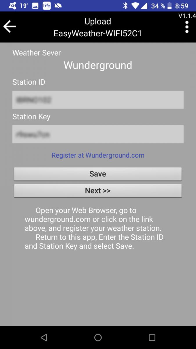 Ventus 830 - propojení se službou Weather Underground v aplikaci WS TOOL