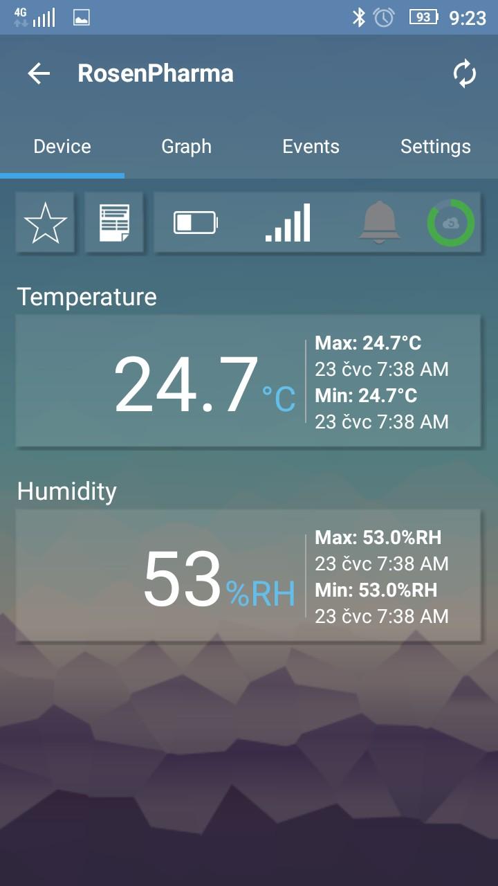 EasylogCloud Android aplikace - aktuální data ze zařízení