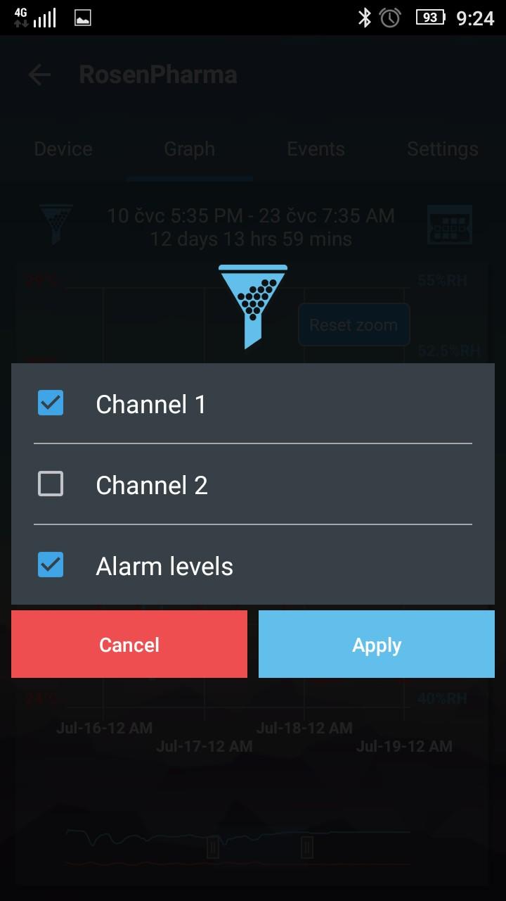 EasylogCloud Android aplikace - nastavení zobrazení v grafu