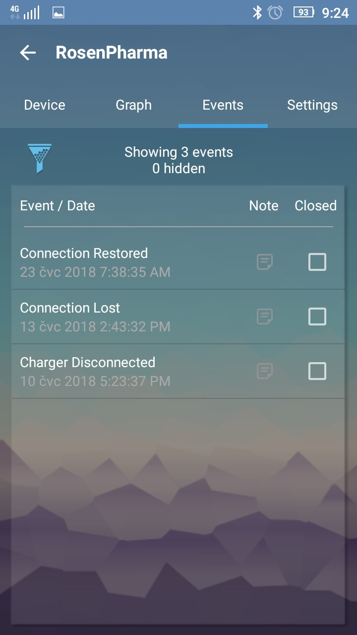 EasylogCloud Android aplikace - prvotní konfigurace zařízení