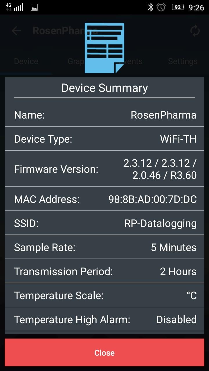 EasylogCloud Android aplikace - informace o zařízení