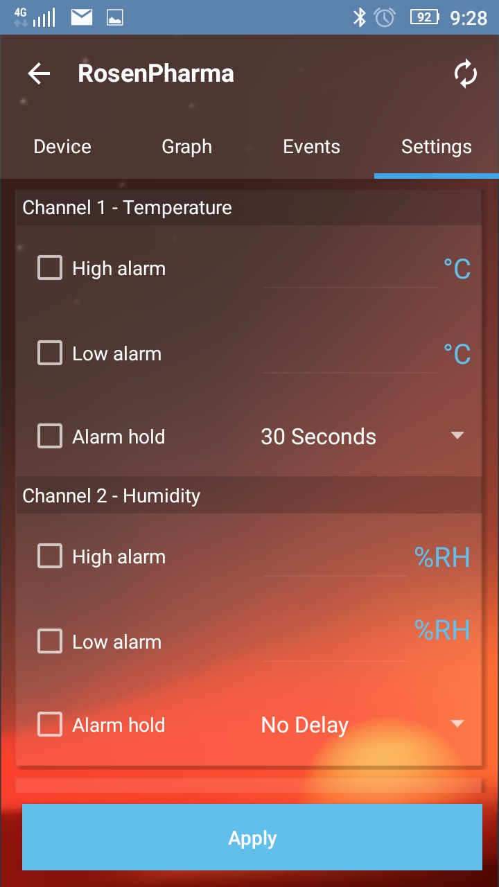 EasylogCloud Android aplikace - nastavení alarmů