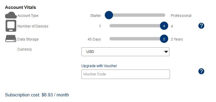 EasylogCloud - výše měsíčního pronájmu závisí na typu účtu