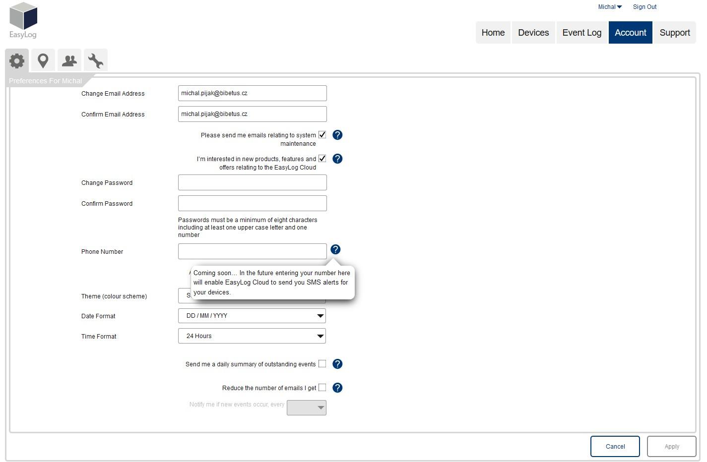 EasylogCloud - nastavení uživatelského účtu